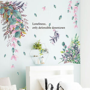 Removable Wall Stickers Foliage Flowers Hanging Leaves Nursery Home Decor DIY