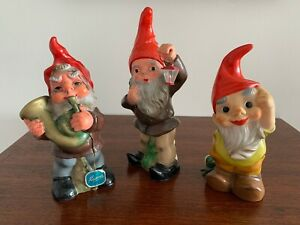 Set of 3 x Vintage HEISSNER Garden Gnomes (two with original labels).