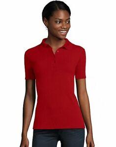 Hanes Women's Pique Polo FreshIQ X Temp Short Sleeve Mid weight Feminine fit