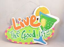 """Live The Good Life 12"""" Wide Tropical Wall Sign Hanging Bar Cocktail Drink Decor"""