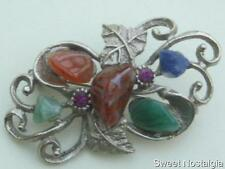 Agate Silver Vintage Costume Brooches/Pins