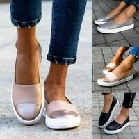 Women Slip On Plimsolls Pumps Lady Summer Casual Loafers Shoes Trainers Size UK