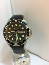 ROTARY MEN'S DIVER CHRONOSPEED Date DISPLAY BLACK LEATHER STRAP WATCH GS03425/04