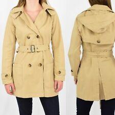 Womens S Gap Trenchcoat Hooded Khaki Brown 100% Cotton