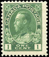 Canada Mint H 1911 F Scott #104 1c Admiral King George V Stamp Issue