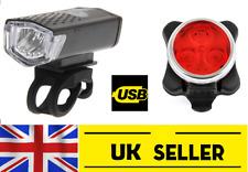 USB Rechargeable Vélo Lumières Set Kit avant et arrière 3 DEL-Tête Queue Imperméable