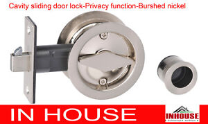 Cavity Sliding door Lock privacy function round brushed nickel finish