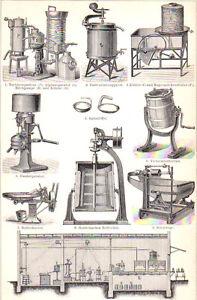 BUTTER MAKING - Original 1894 vintage German engraving print
