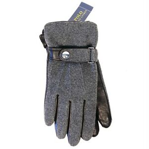 POLO RALPH LAUREN Mens Touchscreen Wool Leather Gloves Gray M (MSRP $68)