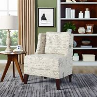 Modern Wingback Tufted Scripted Accent Armchair Fabric Vintage Sofa Chair US