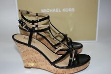 NIB MICHAEL KORS Size 11 Women Black Patent Leather/Cork KAMI WEDGE Strap Sandal