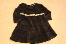 Baby girls black dotty velour dress size 1 back buttoning leopard trim Ladybird