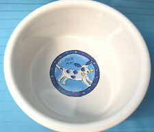 "Dog Cat Pet Feeding Dish Bowl Feed Me Signature Stoneware 5""X3"" Red Blue"