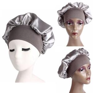 Bonnet Hair Loss Chemo Night Sleep Hat Elastic Head Wraps Wide Band Satin Cap v