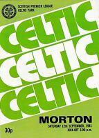 Football Programme>CELTIC v MORTON Sept 1981