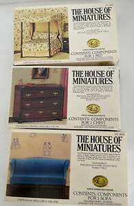 The House of Miniatures Lot of 3 Sofa, Chest, Bed New Open Boxes