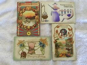 Antique Lot Of Four Thanksgiving Post Cards Dated Early 1900's