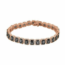 New Icy Rose Gold Finish Black Onyx Solitaire Simulated Diamond 8.5'' Bracelet