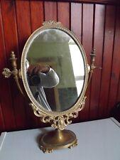 Vintage Metal Brass Dressing Table Tabletop Vanity Swivel Mirror Frame 46 cm