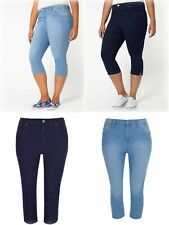 New Ladies Evans Cropped Denim Jeans 5-Pockets Summer Trouser Plus Size 18 to 30