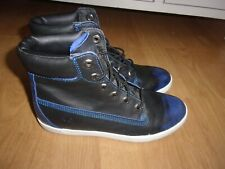 Timberland Glastenbury Black & Blue ladies high top leather ankle boots size 5