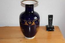 Reichenbach Kobalt Vase GDR Goldrand Malerei 34 cm Hoch