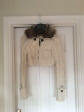 White Woollen Cropped Cardigan With Faux Fur Collar River Island Size 12