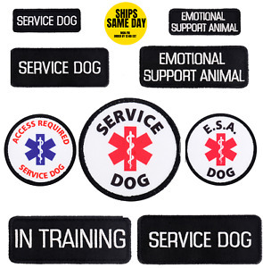 SERVICE DOG, EMOTIONAL SUPPORT ANIIMAL ESA E.S.A. PATCHES SMALL MEDIUM ROUND