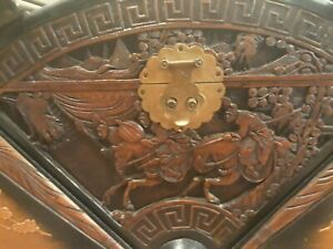 CHINESE JAPANESE EXPORT ANTIQUE CHEST TRUNK BOX 1920's + UNIQUE KEY
