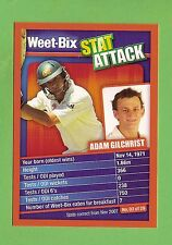 WEETBIX STAT ATTACK CRICKET CARD #3  ADAM GILCHRIST