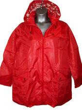 Mac Jacket UK 22 / 24 Red Lightweight Lined Front Zip Waist Pull Tie Hood