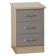Nevada 3 Drawer Gloss Grey Bedside Table