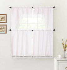 White 4 Pc Kitchen Window Curtain Set: Macrame Border, 2 Swag and 2 Tier Panels