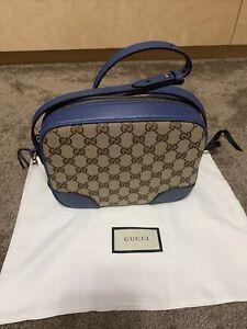 Authentic Gucci Bree Canvas Blue Crossbody Bag