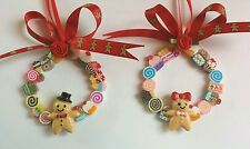 2 GINGERBREAD MEN CANDY WREATHS Christmas Tree decorations 6cm.Red Ginger Ribbon