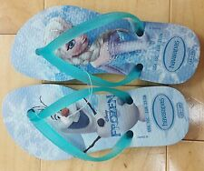 Kids Youth Havaianas flip flops sandals SZ 10 C Disney's Frozen Queen Elsa Olaf