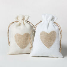 10pcs Natural Jute Hessian Drawstring Pouch Burlap Wedding Favors Gift Bags