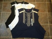 NWT RXB Women's Lace Embroidered Tunic Blouse Top White Black Navy