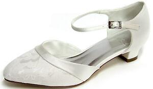 HBH Brautschuhe aus Satin, mit Spitzenüberzug, innen ausgepolstert, 3cm Absatz