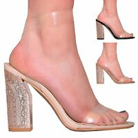 LADIES WOMENS CLEAR STRAP SANDAL SUMMER FASHION STYLE HIGH HEEL SHOES SIZE 3-8