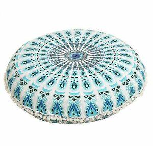 "Sky Blue Peacock Mandala Cotton Handmade Large Round Floor Cushion Cover 32"""