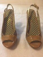 Jessica Simpson Womens Platform Heels Beige Faux Snakeskin Gold Ankle Strap 6.5B