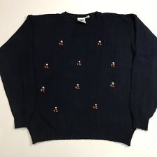 Vintage Disney Large Embroidered Mickey Sweater Crew Neck Navy