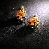 Boucles d/'Oreilles Clous Trèfle Lucky Fleur blanc Vintage Style Soirée NN 3