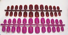 2 x 24 FULL COVER FALSE NAILS TIPS HOT PINK & DEEP RED WINE SHORT NAIL TIP