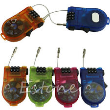 Protable Retractable Luggage Bike Safety 3 Digit Combination Cable Password Lock