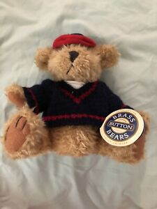 """Tully Pickford Brass Button Bears Collection 10"""" Jointed Blue Knit Sweater Red"""