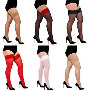 Aurellie Lace Sheer Hold-Up Stockings Silicone Top 20 Denier X-Large - 4X-Large