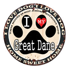 Cpdg-0016 I Love My Great Dane Chic Tin Dog Sign Home Decor Gift Ideas