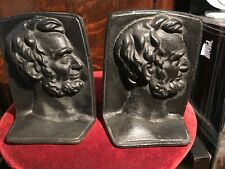 Pair of Nice Vintage President Abraham Lincoln ABE Black Cast Iron Bookends